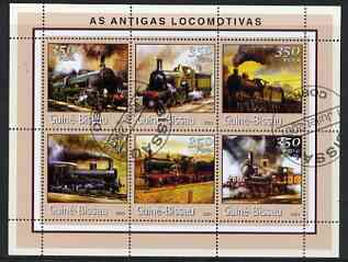 Guinea - Bissau 2001 Early Steam Locos perf sheetlet containing 6 values cto used