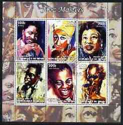 Benin 2003 Jazz Masters #1 (B B King, Ella, Aretha Franklin, C Parker, Louis & Miles Davis) perf sheetlet containing 6 values cto used