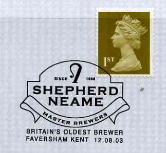 Postmark - Great Britain 2003 cover for Shepherd Neame, Britain's Oldest Brewer with illustrated cancel