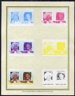 St Lucia 1985 Life & Times of HM Queen Mother (Leaders of the World) 40c set of 7 imperf progressive proof pairs comprising the 4 individual colours plus 2, 3 and all 4 colour composites mounted on special Format International cards (as SG 832a)