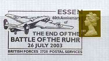 Postmark - Great Britain 2003 cover for 60th Anniversary of End of the Battle of the Ruhr illustrated with a Lancaster Bomber