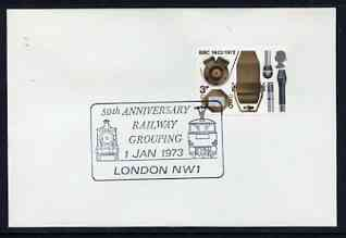 Postmark - Great Britain 1973 cover bearing illustrated cancellation for 50th Anniversary of Railway Grouping