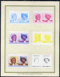 St Lucia 1985 Life & Times of HM Queen Mother (Leaders of the World) 75c set of 7 imperf progressive proof pairs comprising the 4 individual colours plus 2, 3 and all 4 colour composites mounted on special Format International cards (as SG 834a)