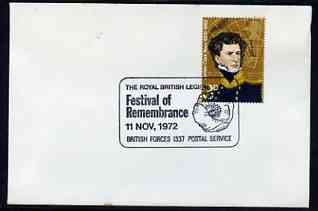 Postmark - Great Britain 1972 cover bearing illustrated cancellation for Royal British Legion Festival of Remembrance (BFPS)