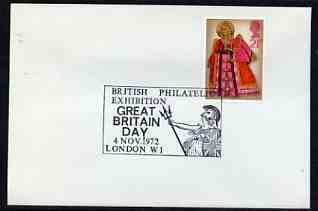 Postmark - Great Britain 1972 cover bearing illustrated cancellation for British Philatelic Exhibition, Great Britain Day