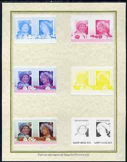 St Lucia 1985 Life & Times of HM Queen Mother (Leaders of the World) $1.75 set of 7 imperf progressive proof pairs comprising the 4 individual colours plus 2, 3 and all 4 colour composites mounted on special Format International cards (as SG 838a)