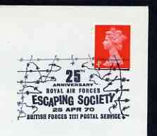 Postmark - Great Britain 1970 cover bearing illustrated cancellation for 25th Anniversary of RAF Escaping Society (BFPS) (rectangular cancel)