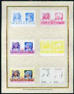 Tuvalu 1985 Life & Times of HM Queen Mother (Leaders of the World) 5c set of 7 imperf progressive proof pairs comprising the 4 individual colours plus 2, 3 and all 4 colour composites mounted on special Format International cards (7 se-tenant proof pairs as SG 334a)