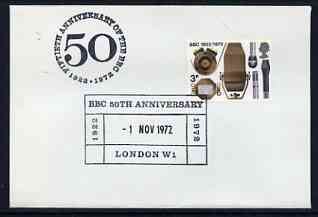 Postmark - Great Britain 1972 cover bearing special cancellation for 50th Anniversary BBC, London