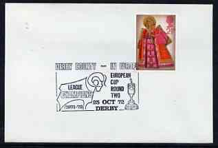 Postmark - Great Britain 1972 cover bearing illustrated cancellation for Derby County in Europe (European Cup Round 2)