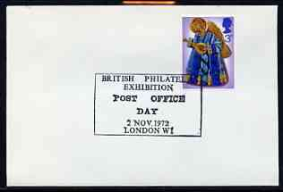 Postmark - Great Britain 1972 cover bearing illustrated cancellation for British Philatelic Exhibition, Post Office Day