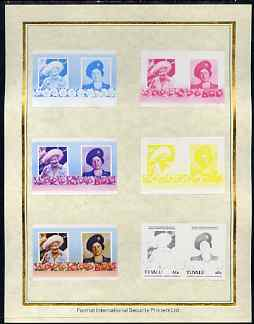 Tuvalu 1985 Life & Times of HM Queen Mother (Leaders of the World) 60c set of 7 imperf progressive proof pairs comprising the 4 individual colours plus 2, 3 and all 4 colour composites mounted on special Format International cards (7 se-tenant proof pairs as SG 338a)