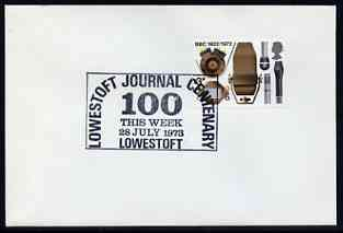Postmark - Great Britain 1973 cover bearing special slogan cancellation for Lowestoft Journal Centenary