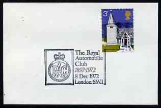 Postmark - Great Britain 1972 cover bearing illustrated cancellation for The Royal Automobile Club 75 Years