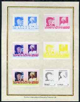 Tuvalu 1985 Life & Times of HM Queen Mother (Leaders of the World) $1 set of 7 imperf progressive proof pairs comprising the 4 individual colours plus 2, 3 and all 4 colour composites mounted on special Format International cards (7 se-tenant proof pairs as SG 340a)