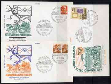 Italy 1962 set of 3 illustrated covers with special commem cancels for Centenary of Italian Posts