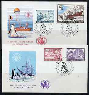 Belgium 1966 Antarctic Expeditions set of 3 plus stamp from m/sheet on 2 illustrated covers with first day (Penguin) cancels