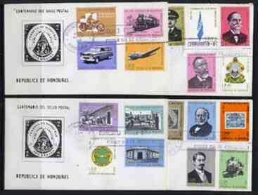 Honduras 1966 Stamp Centenary perf set of 17 plus Motorcycle Express stamp on 4 illustrated covers with first day cancels