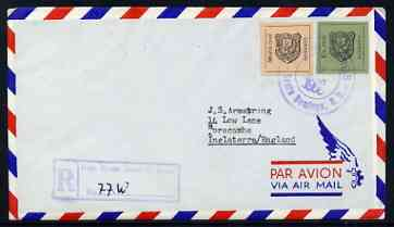 Dominican Republic 1965 Stamp Centenary imperf m/sheet on reg airmail cover to England (with other adhesives)