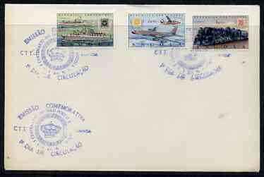 Angola 1970 Stamp Centenary perf set of 3 on plain cover with first day cancel, stamps on stamp centenary, stamps on stamp on stamp, stamps on ships, stamps on aviation, stamps on railways, stamps on fokker, stamps on boeing, stamps on stamponstamp