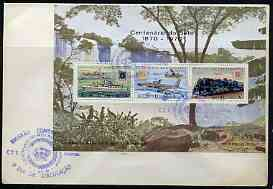 Angola 1970 Stamp Centenary perf m/sheet on plain cover with first day cancel, stamps on stamp centenary, stamps on waterfalls, stamps on stamp on stamp, stamps on ships, stamps on aviation, stamps on railways, stamps on fokker, stamps on boeing, stamps on stamponstamp