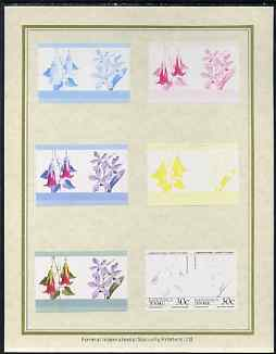 Tuvalu - Nanumaga 1985 Flowers (Leaders of the World) 30c set of 7 imperf progressive proof pairs comprising the 4 individual colours plus 2, 3 and all 4 colour composites mounted on special Format International cards (7 se-tenant proof pairs)