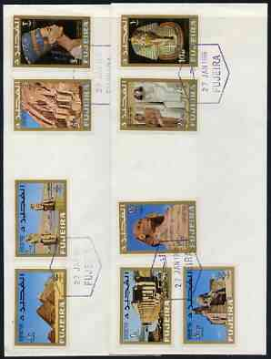 Fujeira 1966 Stamp Centenary Exhibition perf set of 9 on 2 plain covers with first day cancels