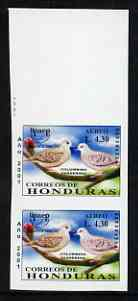 Honduras 2001 America - AIDS Awareness Campaign 4L30 Dove imperf marginal proof pair unmounted mint as SG1613