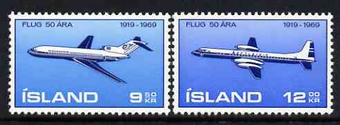 Iceland 1969 50th Anniversary of Icelandic Aviation perf set of 2 unmounted mint, SG 463-64*
