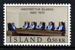 Iceland 1970 50th Anniversary of Icelandic Supreme Court 6k50 unmounted mint, SG 469*