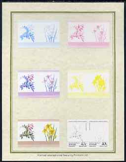 Tuvalu - Nanumaga 1985 Flowers (Leaders of the World) 40c set of 7 imperf progressive proof pairs comprising the 4 individual colours plus 2, 3 and all 4 colour composites mounted on special Format International cards (7 se-tenant proof pairs)