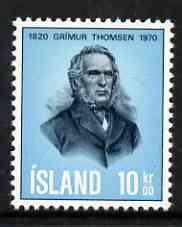 Iceland 1970 150th Birth Anniversary of Grimur Thomsen (poet) unmounted mint SG 476*