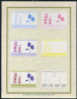 Tuvalu - Nanumaga 1985 Flowers (Leaders of the World) 50c set of 7 imperf progressive proof pairs comprising the 4 individual colours plus 2, 3 and all 4 colour composites mounted on special Format International cards (7 se-tenant proof pairs)