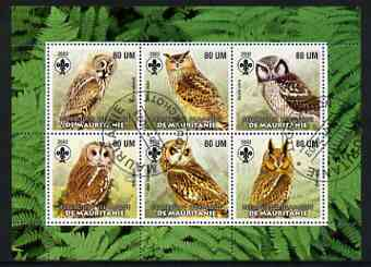 Mauritania 2002 Birds of Prey #6 perf sheetlet containing 6 values cto used (Owls) each with Scout logo
