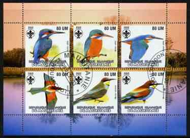 Mauritania 2002 Kingfishers perf sheetlet containing 6 values cto used each with Scout logo