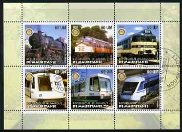 Mauritania 2002 Railway Locos #1 perf sheetlet containing 6 values cto used each with Rotary logo, stamps on railways, stamps on rotary