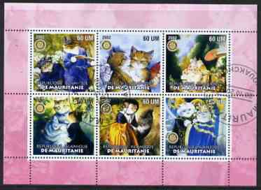 Mauritania 2002 Cartoon Cats #1 (pink border) perf sheetlet containing 6 values cto used each with Rotary logo