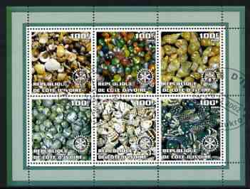 Ivory Coast 2002 Minerals #1 (green border) perf sheetlet containing 6 values cto used each with Rotary logo