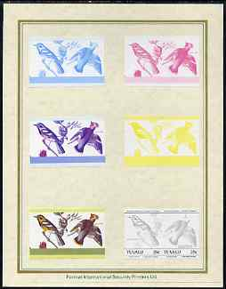 Tuvalu 1985 John Audubon Birds (Leaders of the World) 25c set of 7 imperf progressive proof pairs comprising the 4 individual colours plus 2, 3 and all 4 colour composites mounted on special Format International cards (7 se-tenant proof pairs as SG 303a)