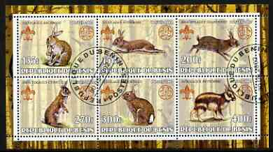 Benin 2002 Rabbits & Hares perf sheetlet containing set of 6 values, each with Scouts & Guides Logos cto used