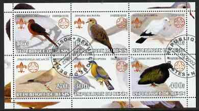 Benin 2002 Pigeons perf sheetlet containing set of 6 values, each with Scouts & Guides Logos cto used