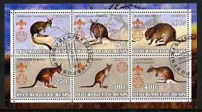 Benin 2002 Kangaroos perf sheetlet containing set of 6 values, each with Scouts & Guides Logos cto used