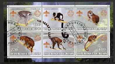 Benin 2002 Lemurs perf sheetlet containing set of 6 values, each with Scouts & Guides Logos cto used
