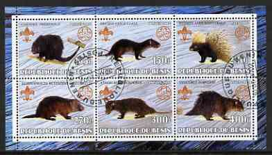 Benin 2002 Porcupines perf sheetlet containing set of 6 values, each with Scouts & Guides Logos cto used