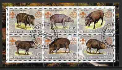 Congo 2002 Hogs perf sheetlet containing set of 6 values, each with Scouts & Guides Logos cto used
