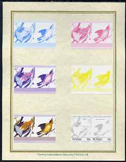 Tuvalu 1985 John Audubon Birds (Leaders of the World) 50c set of 7 imperf progressive proof pairs comprising the 4 individual colours plus 2, 3 and all 4 colour composites mounted on special Format International cards (7 se-tenant proof pairs as SG 305a)