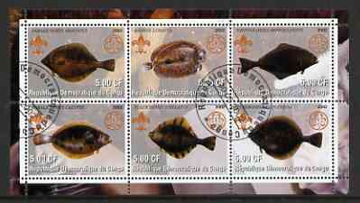 Congo 2002 Fish #3 (flat fish) perf sheetlet containing set of 6 values, each with Scouts & Guides Logos cto used