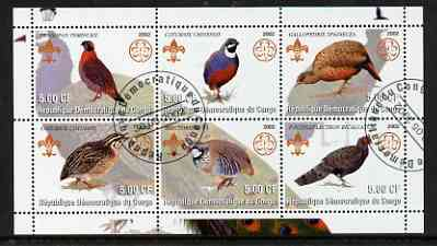 Congo 2002 Game Birds perf sheetlet containing set of 6 values, each with Scouts & Guides Logos cto used
