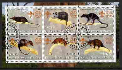 Congo 2002 Opossums perf sheetlet containing set of 6 values, each with Scouts & Guides Logos cto used