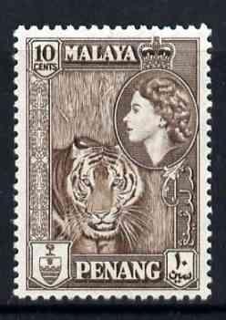 Malaya - Penang 1957 Tiger 10c brown (from def set) unmounted mint, SG 49*